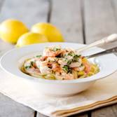 Prawn scampi as a main course with smoked salmon appetizers